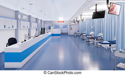 Empty emergency room interior of modern hospital - Interior...