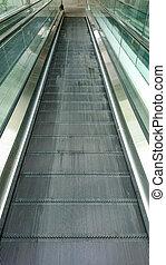 Empty escalator moving walkway