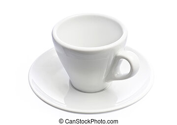 Empty espresso coffee cup isolated over white