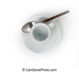 empty espresso cup in a saucer isolated on a white background