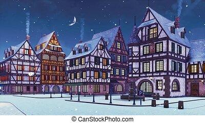 Empty european town at snowfall winter evening 3D