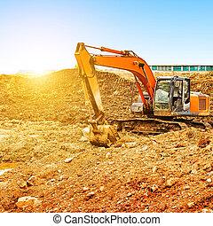 Empty excavator