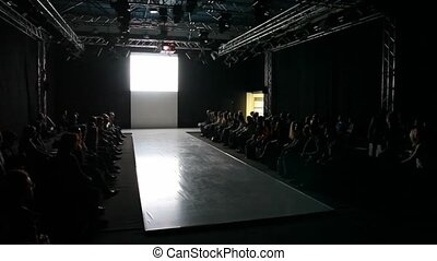 empty fashion model podium before show - empty fashion model...