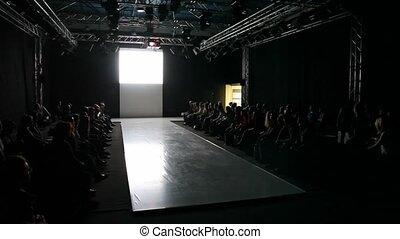 empty fashion model podium before show - empty fashion model...