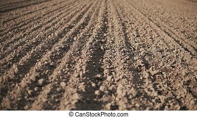 Camera slide over empty plowed field with dark soil at beginning of spring