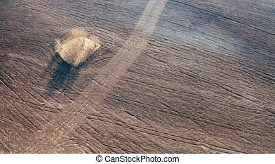 Drone view of an empty field, surrounded by forest