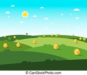 Empty Field. Vector Flat Design Meadow. Sunny Day with Blue Sky.