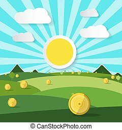 Empty Field Vector Illustration. Natural Scene with Sun and Clouds.