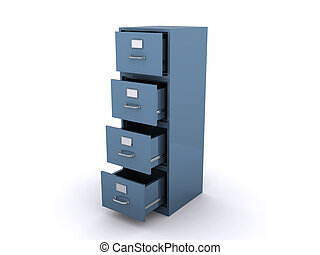 Empty file cabinet isolated on a white background (3d render)