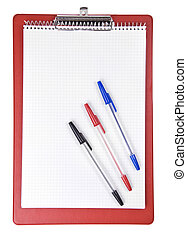 Empty file isolated on white background with color pen