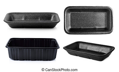 Empty foam and plastic food container isolated on white