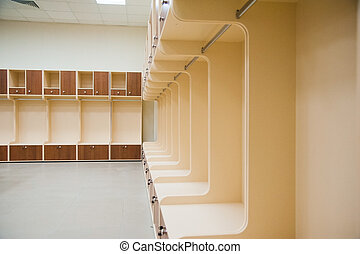Empty football changing room