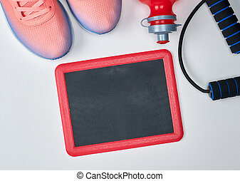 empty frame and objects and clothes for sports