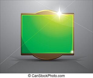 empty frame- bright green banner