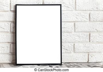 Empty frame mock-up in minimalist interior