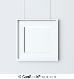 Empty frame on the white wall