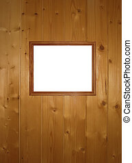 empty frame on wooden wall