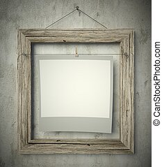 Empty frame with blank photo, isolated white
