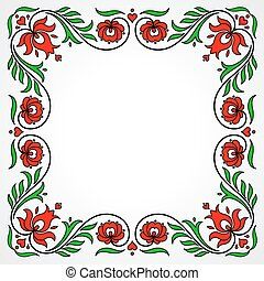 Empty frame with traditional Hungarian floral motives -...
