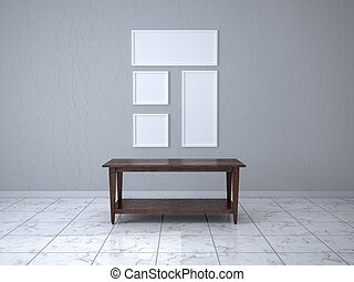 Empty frames in a room with a wooden table. 3d illustration
