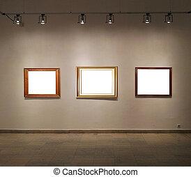 Empty frames in gallery room