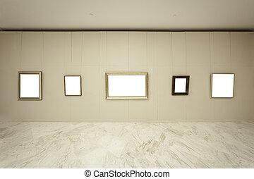 Empty frames on wall