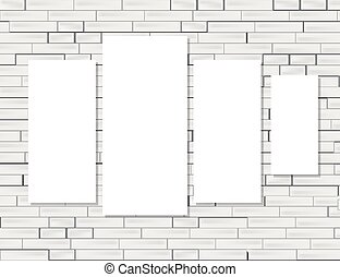 Empty frames on white brick wall.