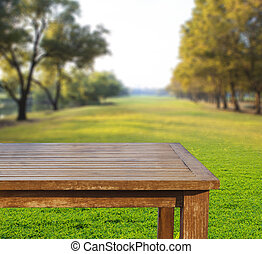 empty free space top wood table on green grass field against sun beam on blue sky use for multipurpose background ,backdrop