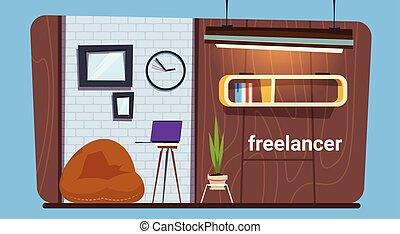 Empty Freelance Worker Workplace In Modern Creative Office...