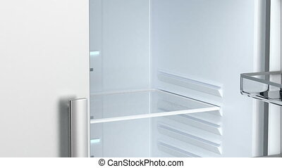 Empty fridge - Opening and closing the door of an empty...