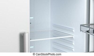 Empty fridge - Opening and closing the door of an empty...