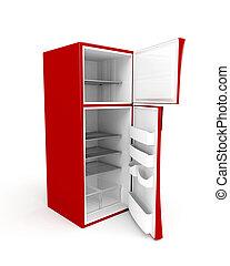 Empty fridge with opened doors - 3d image of empty fridge...