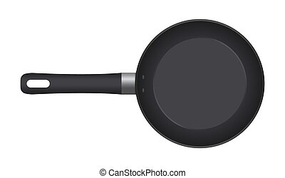 Empty frying pan, top view isolated on white background. Realistic steel pan. Vector illustration mockup.