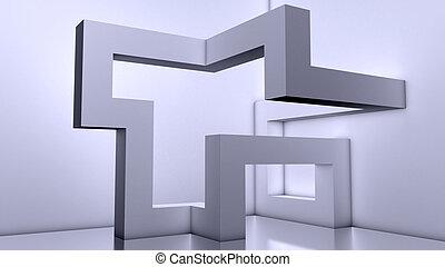 Empty futuristic interior, 3d Block