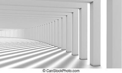 Empty futuristic interior, Columns