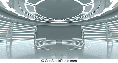 Empty futuristic interior with glossy walls and floor. 3d...