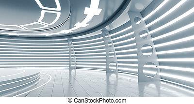 Empty futuristic interior