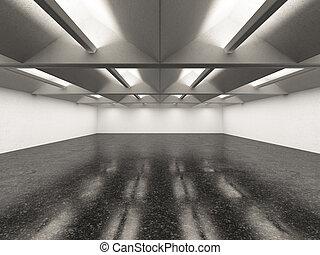 empty gallery interior with dark floor