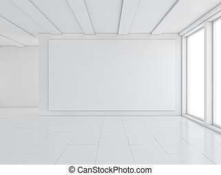 Empty gallery interior with light windows