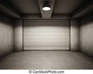 Empty garage illuminated by lamp