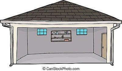 Empty Garage with Doorway - Empty single isolated cartoon...
