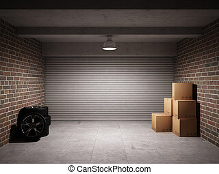 Empty garage with metal roll up door