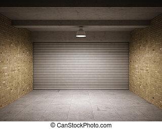 Empty garage with metallic roll up door