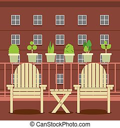 Empty Garden Chairs At Balcony.