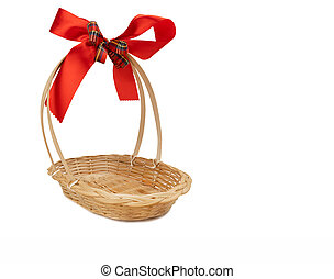 Empty gift basket with red-gold ribbon bow for Christmas and new year gift isolated on white