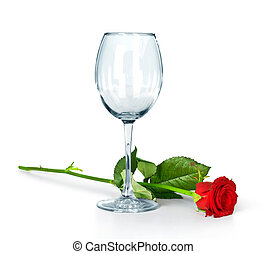 empty glass and a rose