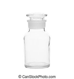 empty glass bottle isolated on white, transparent jar