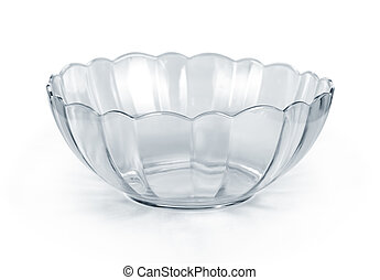Empty glass bowl on white background
