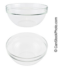 Empty glass bowl over white background - Empty glass bowl...