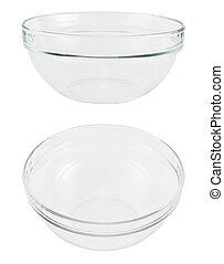 Empty glass bowl over white background - Empty glass bowl...